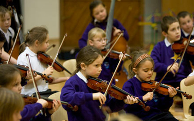 Children attending Sistema Scotland in Stirling.